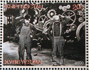 Postzegel met een scene uit modern times
